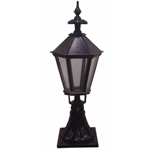 Zexum Black Traditional Driveway Pillar Lamp Zexum IP44 Traditional Black Painted Steel Driveway Pedestal Pillar Lamp Light  - Click to view a larger image