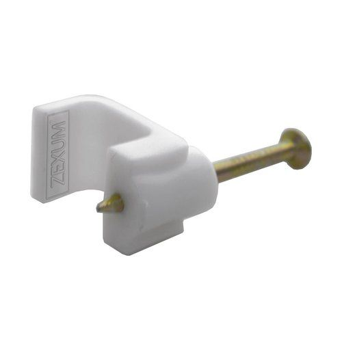 Zexum 5mm Flat White Bell Wire Clip  - Click to view a larger image
