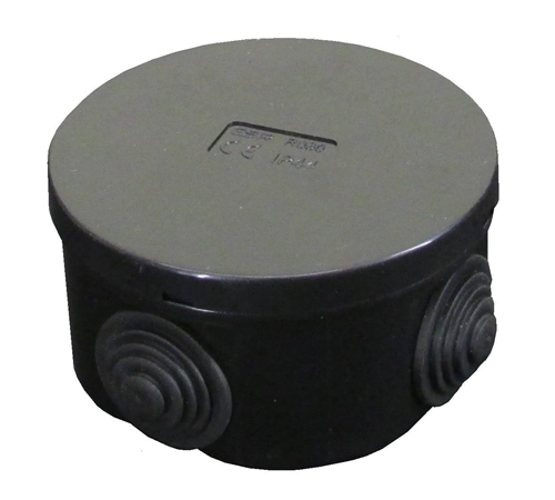 ESR 80mm IP44 Round PVC Junction Box with Knockouts - Black  - Click to view a larger image