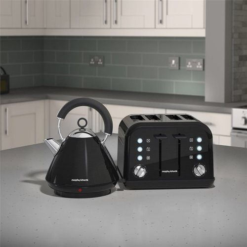 Morphy Richards Accents Pyramid Kettle & 4 Slice Toaster Set  Metallic Black