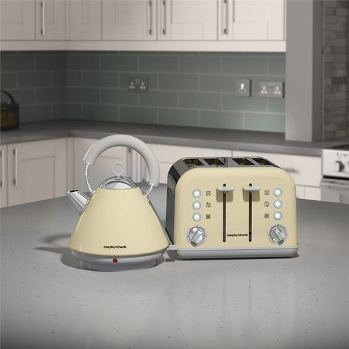 Morphy Richards Accents Pyramid Kettle & 4 Slice Toaster Set  Matte Cream