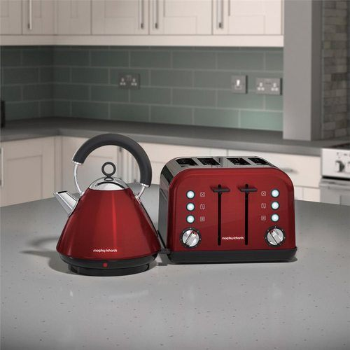 Morphy Richards Accents Pyramid Kettle & 4 Slice Toaster Set  Metallic Red