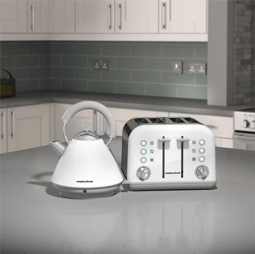 Morphy Richards Accents Pyramid Kettle & 4 Slice Toaster Set  White