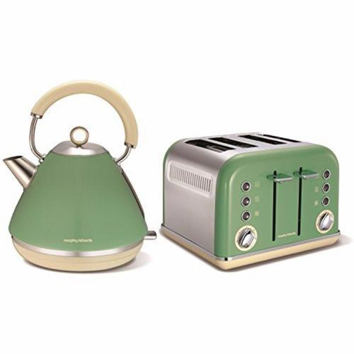 Morphy Richards Accents Pyramid Kettle & 4 Slice Toaster Set  Sage Green
