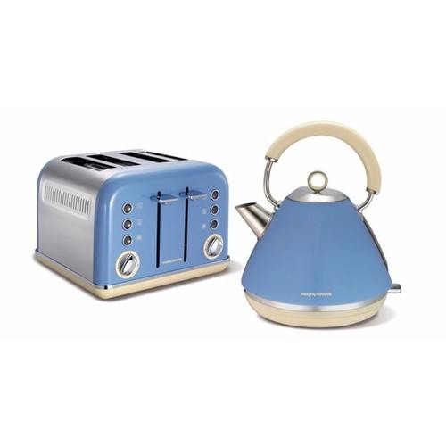 Morphy Richards Accents Pyramid Kettle & 4 Slice Toaster Set  Cornflour Blue