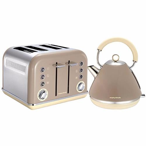 Morphy Richards Accents Pyramid Kettle & 4 Slice Toaster Set  Barley