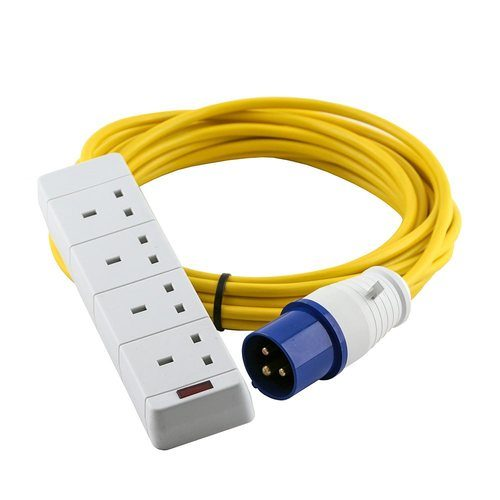 Zexum 16A 230V Yellow Male to 4 Gang Hook Up Extension Cable Lead  - Click to view a larger image