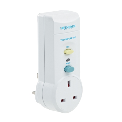 Greenbrook Plug In RCD UK 3 Pin Power Breaker Safety Adaptor Greenbrook Plug In RCD UK 3 Pin Power Breaker Safety Adaptor  - Click to view a larger image