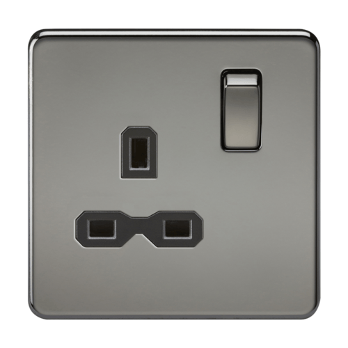 KnightsBridge 1G DP 13A 230V Screwless Black Nickel UK 3 Pin Switched Electrical Wall Socket KnightsBridge 1G DP 13A 230V Screwless Black Nickel UK 3 Pin Switched Electrical Wall Socket - Click to view a larger image