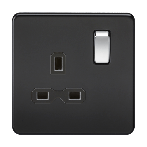 KnightsBridge 1G DP 13A 230V Screwless Matt Black UK 3 Pin Switched Electrical Wall Socket KnightsBridge 1G DP 13A 230V Screwless Matt Black UK 3 Pin Switched Electrical Wall Socket  - Click to view a larger image