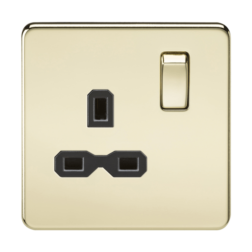 KnightsBridge 1G DP 13A 230V Screwless Polished Brass  UK 3 Pin Switched Electrical Wall Socket KnightsBridge 1G DP 13A 230V Screwless Polished Brass UK 3 Pin Switched Electrical Wall Socket - Black Insert - Click to view a larger image