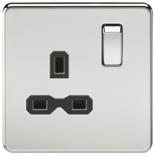 KnightsBridge 1G DP 13A 230V Screwless Polished Chrome UK 3 Pin Switched Electrical Wall Socket KnightsBridge 1G DP 13A 230V Screwless Polished Chrome UK 3 Pin Switched Electrical Wall Socket - Black Insert