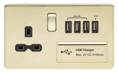 KnightsBridge 13A 2G Screwless Polished Brass 1G Switched Socket with Quad 5V USB Charger Ports KnightsBridge 13A 2G Screwless Polished Brass 1G Switched Socket with Quad 5V USB Charger Ports  - Click to view a larger image