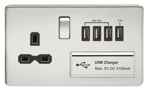 KnightsBridge 13A 2G Screwless Polished Chrome 1G Switched Socket with Quad 5V USB Charger Ports  - Click to view a larger image