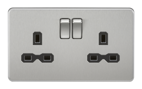 KnightsBridge 13A 2G DP Screwless Brushed Chrome 230V UK 3 Pin Switched Electric Wall Socket KnightsBridge 13A 2G DP Screwless Brushed Chrome 230V UK 3 Pin Switched Electric Wall Socket  - Click to view a larger image