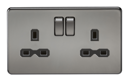 KnightsBridge 13A 2G DP Screwless Black Nickel 230V UK 3 Pin Switched Electric Wall Socket KnightsBridge 13A 2G DP Screwless Black Nickel 230V UK 3 Pin Switched Electric Wall Socket  - Click to view a larger image