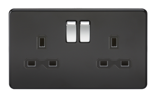 KnightsBridge 13A 2G DP Screwless Matt Black 230V UK 3 Pin Switched Electric Wall Socket KnightsBridge 13A 2G DP Screwless Matt Black 230V UK 3 Pin Switched Electric Wall Socket  - Click to view a larger image