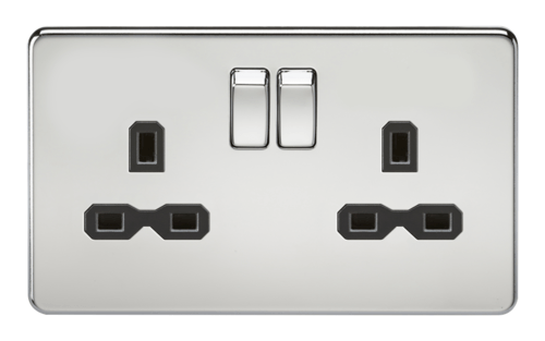 KnightsBridge 13A 2G DP Screwless Polished Chrome 230V UK 3 Pin Switched Electric Wall Socket  - Click to view a larger image