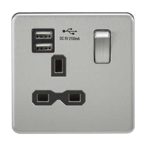KnightsBridge 13A 1G Screwless Brushed Chrome 1G Switched Socket with Dual 5V USB Charger Ports KnightsBridge 13A 1G Screwless Brushed Chrome 1G Switched Socket with Dual 5V USB Charger Ports  - Click to view a larger image