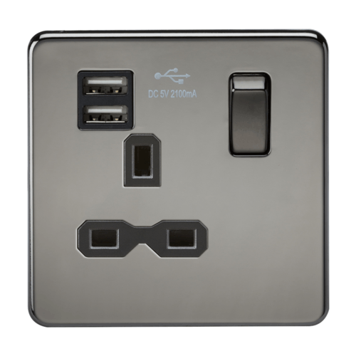 KnightsBridge 13A 1G Screwless Black Nickel 1G Switched Socket with Dual 5V USB Charger Ports KnightsBridge 13A 1G Screwless Black Nickel 1G Switched Socket with Dual 5V USB Charger Ports  - Click to view a larger image