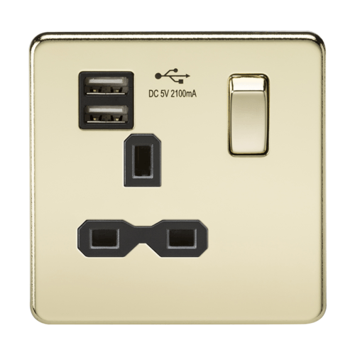 KnightsBridge 13A 1G Screwless Polished Brass 1G Switched Socket with Dual 5V USB Charger Ports KnightsBridge 13A 1G Screwless Polished Brass 1G Switched Socket with Dual 5V USB Charger Ports  - Click to view a larger image