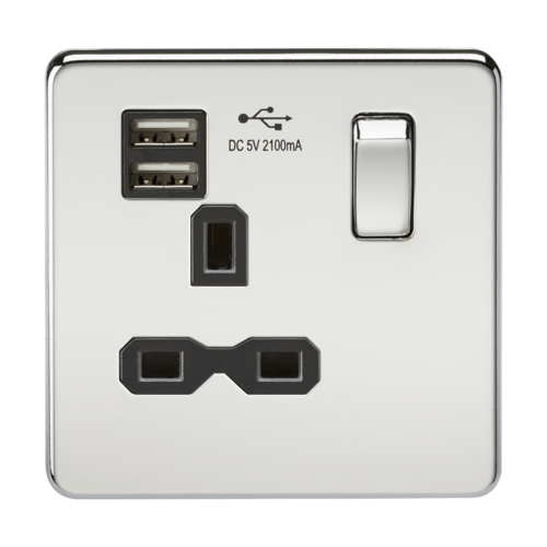 KnightsBridge 13A 1G Screwless Polished Chrome 1G Switched Socket with Dual 5V USB Charger Ports KnightsBridge 13A 1G Screwless Polished Chrome 1G Switched Socket with Dual 5V USB Charger Ports - Click to view a larger image