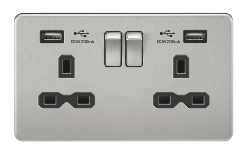KnightsBridge 13A 2G Screwless Brushed Chrome 2G Switched Socket with Dual 5V USB Charger Ports KnightsBridge 13A 2G Screwless Brushed Chrome 2G Switched Socket with Dual 5V USB Charger Ports  - Click to view a larger image
