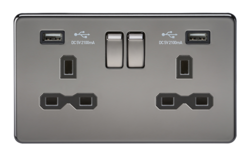 KnightsBridge 13A 2G Screwless Black Nickel 2G Switched Socket with Dual 5V USB Charger Ports KnightsBridge 13A 2G Screwless Black Nickel 2G Switched Socket with Dual 5V USB Charger Ports  - Click to view a larger image