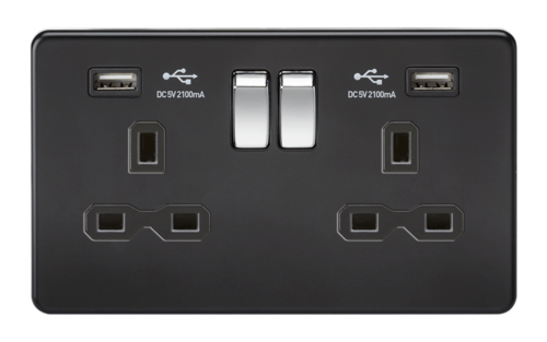 KnightsBridge 13A 2G Matt Black 2G Switched Socket with Dual 5V USB Charger Ports KnightsBridge 13A 2G Matt Black 2G Switched Socket with Dual 5V USB Charger Ports  - Click to view a larger image