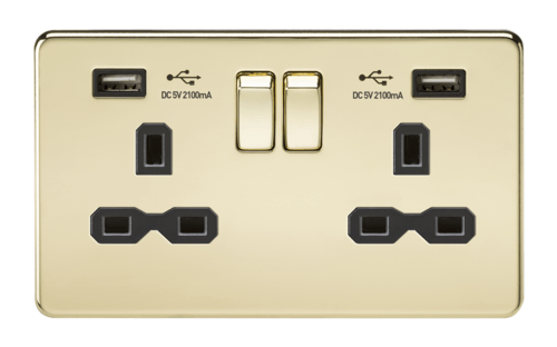 KnightsBridge 13A 2G Screwless Polished Brass 2G Switched Socket with Dual 5V USB Charger Ports KnightsBridge 13A 2G Screwless Polished Brass 2G Switched Socket with Dual 5V USB Charger Ports  - Click to view a larger image