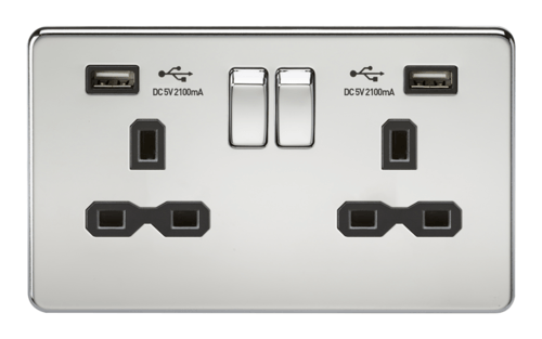 KnightsBridge 13A 2G Screwless Polished Chrome 2G Switched Socket with Dual 5V USB Charger Ports KnightsBridge 13A 2G Screwless Polished Chrome 2G Switched Socket with Dual 5V USB Charger Ports  - Click to view a larger image