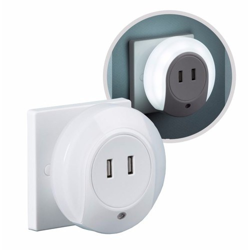 KnightsBridge Plug In Compact LED Wall Night Light with Sensor & USB Charging KnightsBridge Plug In Compact LED Childrens Wall Night Light w/ Sensor & USB Charging  - Click to view a larger image