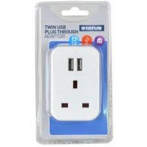 Status Twin Port USB Plug Through Adapter Status Twin Port USB Plug Through Adapter - Clam Packaging - Click to view a larger image