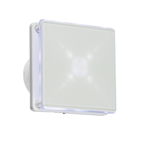 "KnightsBridge 4"" LED Backlit Bathroom Wall & Ceiling Extractor Fan w/ Timer KnightsBridge 4"" LED Backlit Bathroom Wall & Ceiling Extractor Fan w/ Timer  - Click to view a larger image"