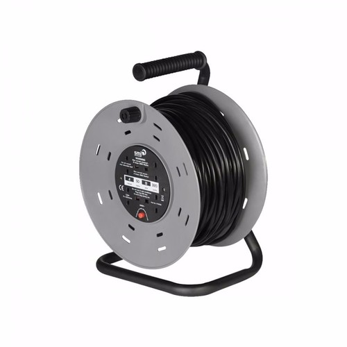 SMJ 4 Gang 50m Heavy Duty Cable Reel with Thermal Cut Out 50 Meter 4 Socket Cable Reel from SMJ - Click to view a larger image