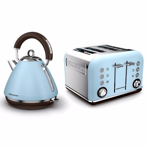Morphy Richards Azure Blue Accents Pyramid Kettle & 4 Slice Toaster Set  - Click to view a larger image