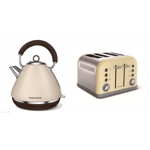 Morphy Richards Accents Pyramid Kettle & 4 Slice Toaster Set Special Edition- Sand  - Click to view a larger image