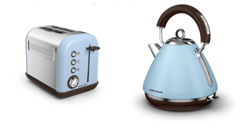 Morphy Richards Accents Pyramid Kettle & 2 Slice Toaster Set  Azure