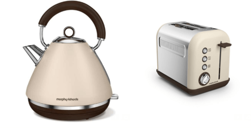 Morphy Richards Accents Pyramid Kettle & 2 Slice Toaster Set  Sand