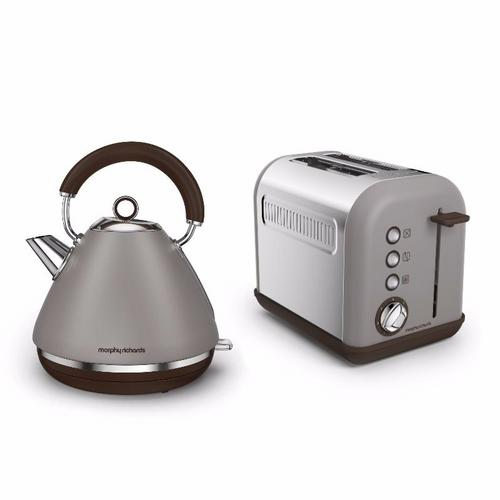 Morphy Richards Accents Pyramid Kettle & 2 Slice Toaster Set  Pebble