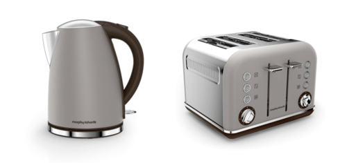 Morphy Richards Accents Jug Kettle & 4 Slice Toaster Set Special Edition  Pebble