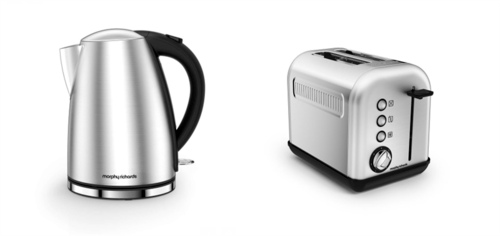 Morphy Richards Accents Jug Kettle & 2 Slice Toaster Set  - Brushed Stainless Steel Morphy Richards Accents Jug Kettle & 2 Slice Toaster Set - Brushed Stainless Steel  - Click to view a larger image