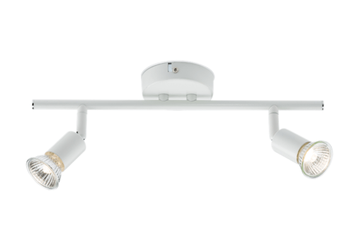 KnightsBridge Ceiling Light GU10 50 Watt 2 Spotlight Bar White LED Compatible KnightsBridge Ceiling Light GU10 50 Watt 2 Spotlight Bar White LED Compatible - Click to view a larger image