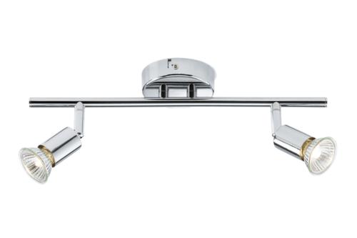 KnightsBridge Ceiling Light GU10 50 Watt 2 Spotlight Bar Chrome LED Compatible Ceiling Light GU10 50 Watt 2 Spotlight Bar Chrome LED Compatible - Click to view a larger image