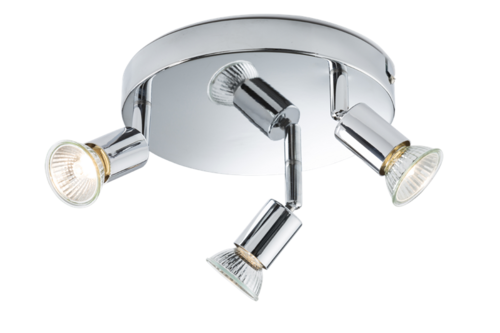 KnightsBridge Ceiling Light GU10 50 Watt 3 Spotlight Bar Chrome LED Compatible KnightsBridge Ceiling Light GU10 50 Watt 3 Spotlight Bar Chrome LED Compatible - Click to view a larger image