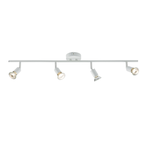 KnightsBridge Ceiling Light GU10 50 Watt 4 Spotlight Bar White LED Compatible KnightsBridge Ceiling Light GU10 50 Watt 4 Spotlight Bar White LED Compatible - Click to view a larger image