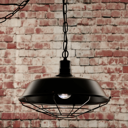 Compare prices for Greenhall Lighting Halton Wire Guarded Hanging Traditional Industrial Ceiling Light