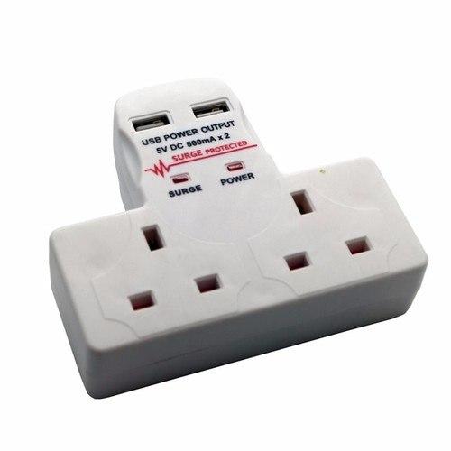 2 Way Gang Extension Socket Surge Protection Multi Plug with 2 USB Charge Port Doe-het-zelf