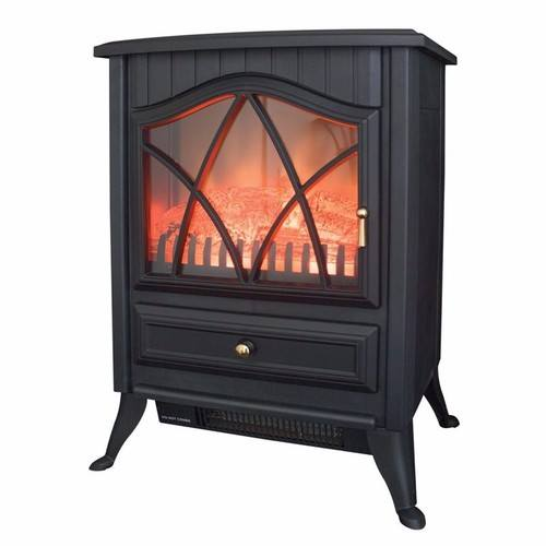 Benross Traditional  Black Iron Electric Fan Heater Stove  - Click to view a larger image
