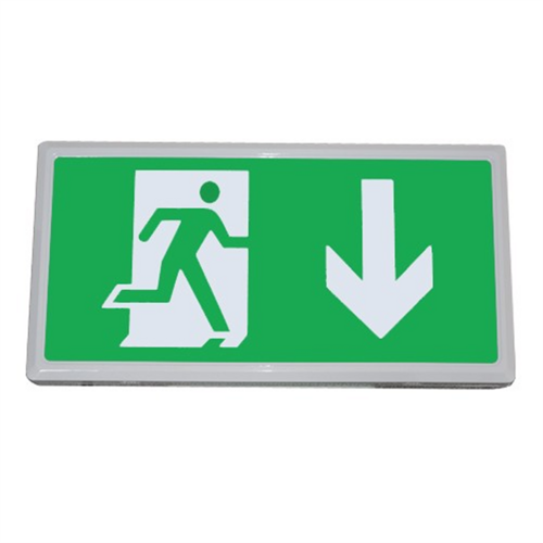 Hi-Spec IP20 5W universal LED Emergency Exit Box Fitting (Down Arrow)  - Click to view a larger image